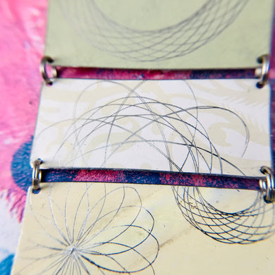 Spirograph on Mixed Pales Upcycled Tin Bracelet