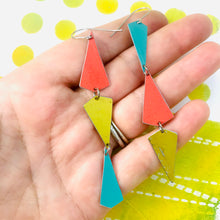 Load image into Gallery viewer, Gold, Turquoise & Coral Small Narrow Kites Recycled Tin Earrings