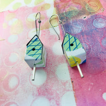 Load image into Gallery viewer, Pineapple Tiny Tin Birdhouse Earrings