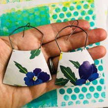 Load image into Gallery viewer, Purple Violets Large Zero Waste Tin Earrings