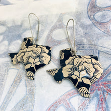 Load image into Gallery viewer, Ecru Blossoms on Midnight Blue Texas Upcycled Tin Earrings