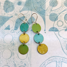 Load image into Gallery viewer, Aqua, Goldenrod & Moss Tri-dot Upcycled Tin Earrings