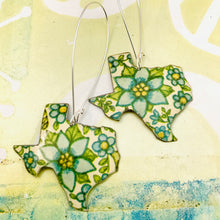 Load image into Gallery viewer, Lots of Blue Flowers Texas Upcycled Tin Earrings