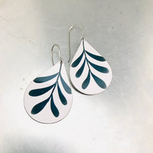 Load image into Gallery viewer, Mod Leaves on White Upcycled Teardrop Tin Earrings