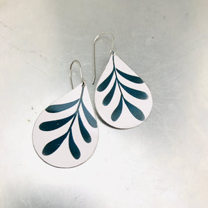 Mod Leaves on White Upcycled Teardrop Tin Earrings