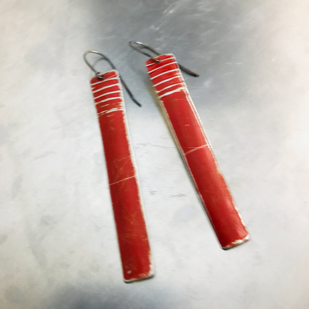 Rustic Matte Red Zero Waste Tin Earrings