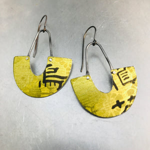 Lacey Yellow Chinese Characters Little Us Upcycled Tin Earrings
