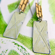 Load image into Gallery viewer, Palest Celery & Vintage Capsule Pattern Recycled Tin Earrings