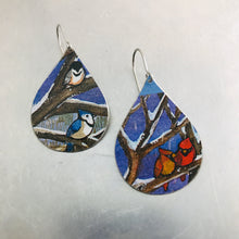 Load image into Gallery viewer, Winter Birds Upcycled Teardrop Tin Earrings