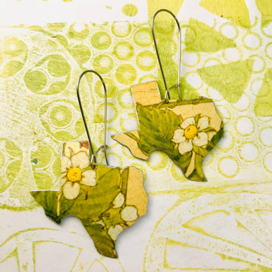 Strawberry Blossoms Texas Upcycled Tin Earrings