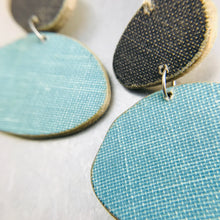 Load image into Gallery viewer, Book Pebbles Charcoal & Aqua Recycled Book Cover Earrings