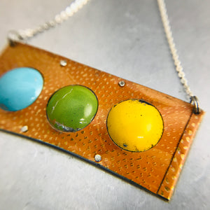 Aqua, Apple & Mango on Pumpkin Recycled Tin Necklace