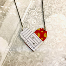 Load image into Gallery viewer, Deep Red & White Tin Folded Heart Reversible Necklace