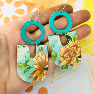 Big Orange Blossoms Chunky Horseshoes Zero Waste Tin Earrings