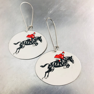 Black Horse Dressage Upcycled Tin Earrings
