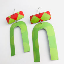Load image into Gallery viewer, Big Dots Bright Green & Red Checkerboard Zero Waste Tin Earrings