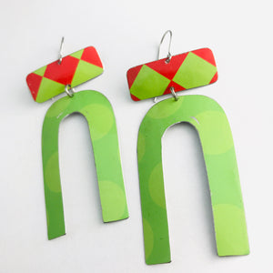 Big Dots Bright Green & Red Checkerboard Zero Waste Tin Earrings