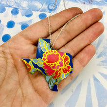Load image into Gallery viewer, Big Red Blossom Texas Recycled Tin Necklace
