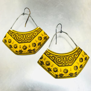Mustard Yellow Patterned Recycled Tin Earrings