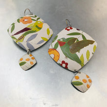Load image into Gallery viewer, Hummingbirds Rounded Rectangle Upcycled Tin Earrings