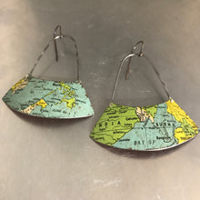 Load image into Gallery viewer, India & SE Asia Vintage Globe Upcycled Fan Tin Earrings