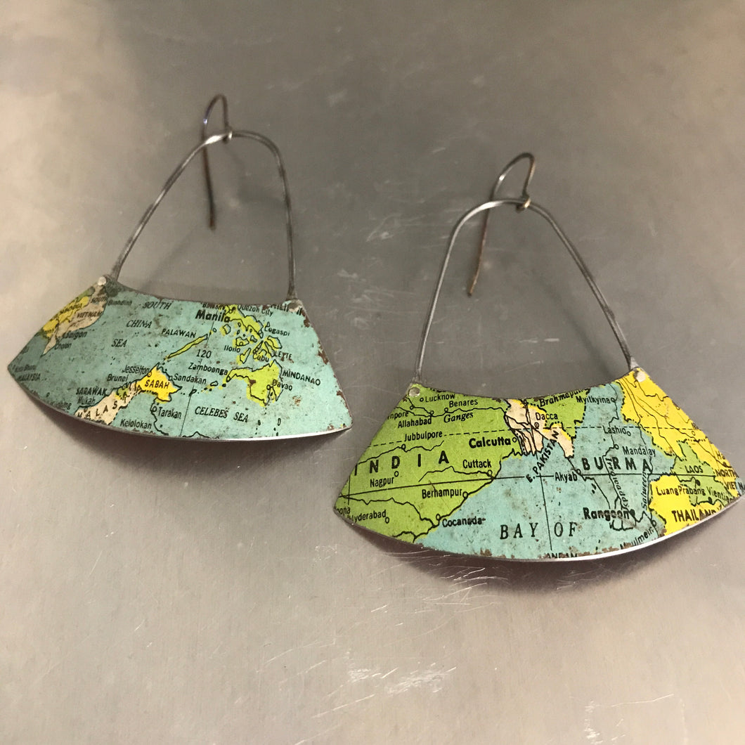 India & SE Asia Vintage Globe Upcycled Fan Tin Earrings