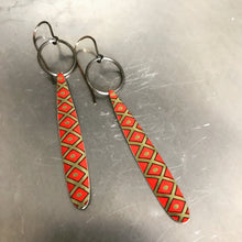 Load image into Gallery viewer, Golden Lattice on Scarlet Upcycled Tin Earrings by Christine Terrell for adaptive reuse jewelry