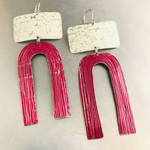 Load image into Gallery viewer, White X'd and Magenta Etched Arch Tin Earrings