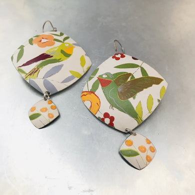 Hummingbirds Rounded Rectangle Upcycled Tin Earrings