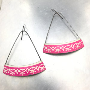 Magenta Wide Arc Zero Waste Tin Earrings