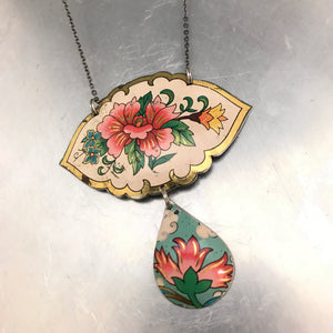 Vintage Pink Flowers Upcycled Tin Necklace