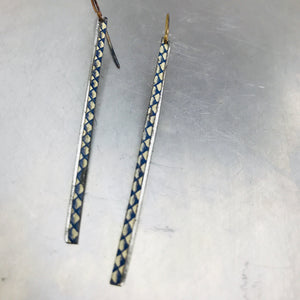 Delft Blue Long Thin Upcycled Tin Earrings by Christine Terrell for adaptive reuse jewelry