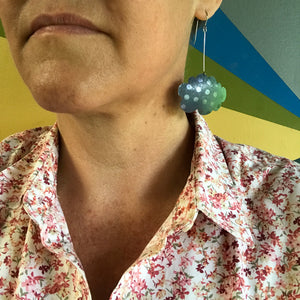 Happy Pumpkin Clouds Upcycled Tin Earrings