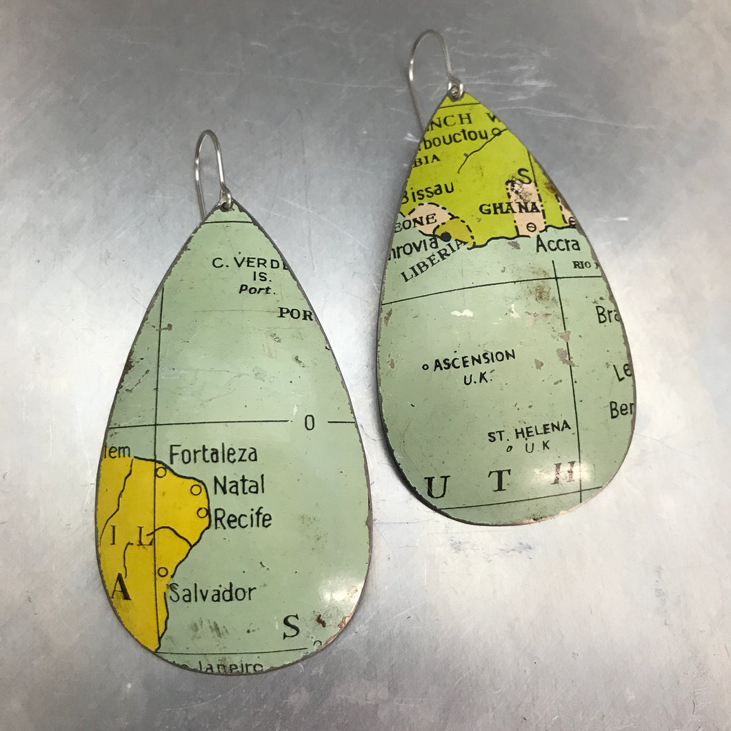 Brazil & Ghana Vintage Globe Upcycled Large Teardrop Tin Earrings