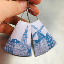 Load image into Gallery viewer, Blue Windmill on White Upcycled Tin Earrings