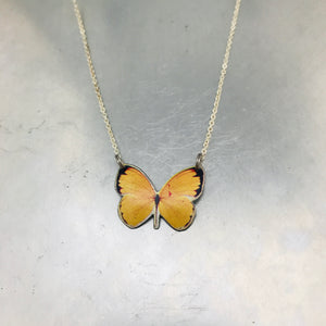 Tiny Yellow Butterfly Upcycled Tin Necklace Tin Anniversary Gift