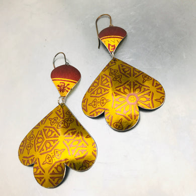 Shimmery Gold & Burgundy Trefoil Upcyled Tin Earrings