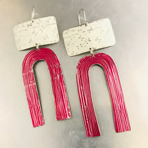 White X'd and Magenta Etched Arch Tin Earrings