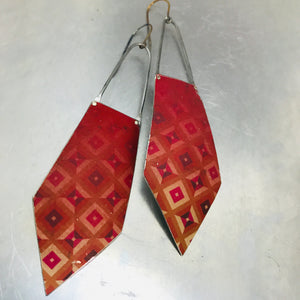 Geometric Deep Raspberry Recycled Tin Earrings