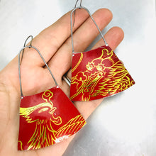 Load image into Gallery viewer, Firebird and Dragon on Red Recycled Tin Earrings