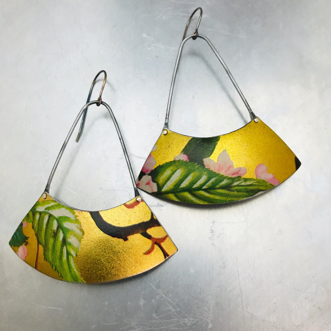Green Leaves on Gold Large Fan Recycled Tin Earrings