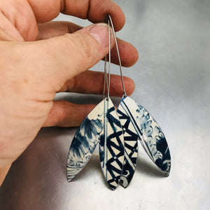 Blue and White Patterned Double Leaf Upcycled Tin Earrings