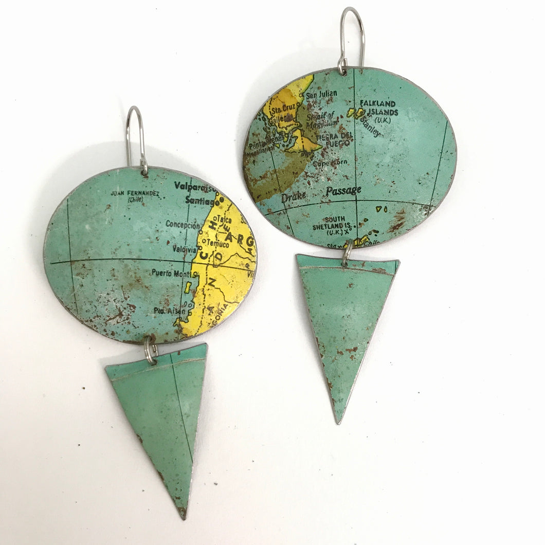 Argentina & Tierra del Fuego Oval Vintage Globe Upcycled Tin Earrings