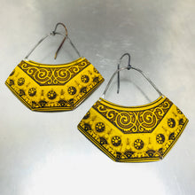 Load image into Gallery viewer, Mustard Yellow Patterned Recycled Tin Earrings