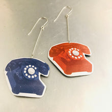 Load image into Gallery viewer, Red & Blue Retro Phones Upcycled Tin Earrings