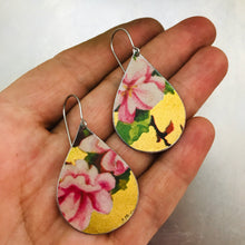 Load image into Gallery viewer, Pink Peonies on Gold Upcycled Teardrop Tin Earrings