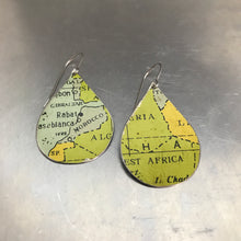 Load image into Gallery viewer, Africa Vintage Map Upcycled Teardrop Tin Earrings