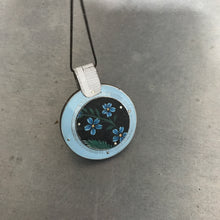 Load image into Gallery viewer, Reversible Flowers in Blue Constructed Tin Collage Necklace