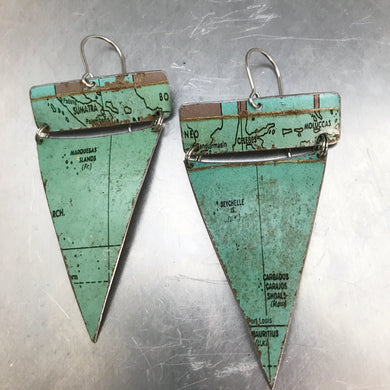Sumatra Ocean Triangles Vintage Globe Upcycled Tin Earrings