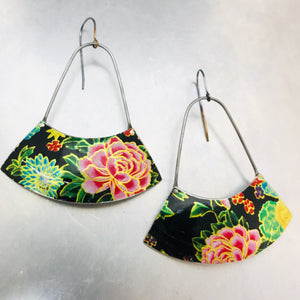 Asian Tea Tin Flowers Large Fan Recycled Tin Earrings